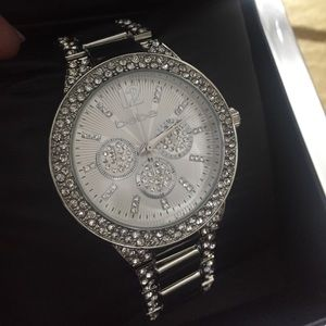 Bebe Rhinestones silver color watch new in Box